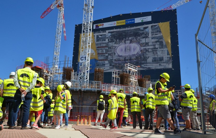 Exceptionally, ITER visitors were able to walk out across the L1 level slab (the ground floor) of the Tokamak Building. Only one plot remains to be poured; work is already underway on the L1-level walls. (Click to view larger version...)