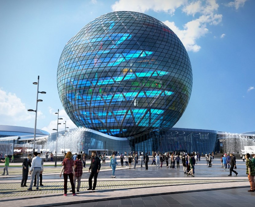 The central ''Sphere'' at EXPO-2017, on a 174-hectare site in Astana where over 2 million visitors are expected in the next three months. The 2017 World's Fair opened in Kazakhstan on 10 June to the theme of ''Future Energy.'' (Click to view larger version...)