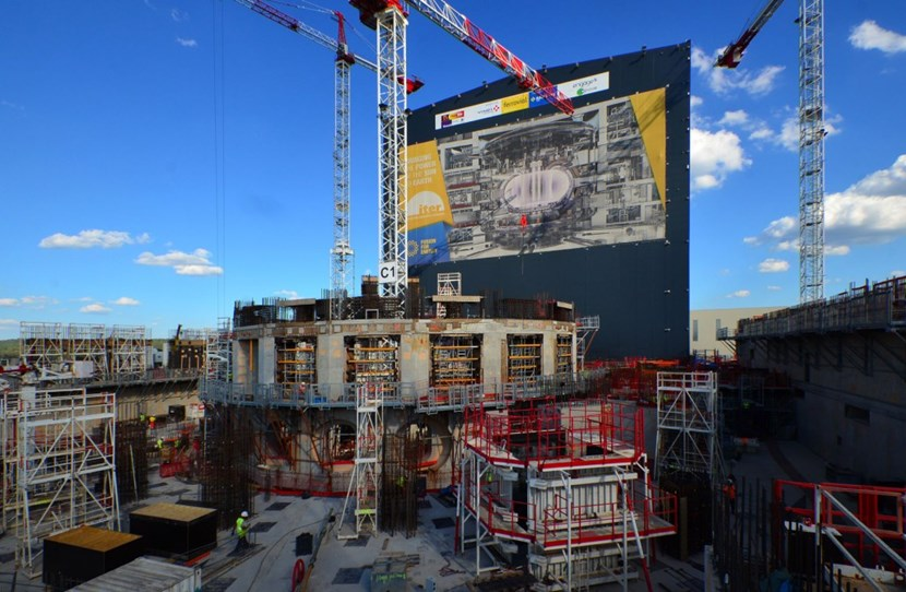The ITER bioshield, centre, and the Diagnostics Building, right, have both reached L2 level and work is underway on L3. Approximately 400 workers in two shifts are in involved in Tokamak Complex construction. (Click to view larger version...)