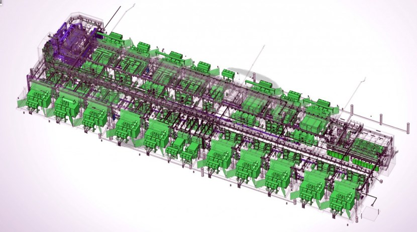 Densely packed with electrical converters, switches and fast discharge units, the twin Magnet Power Conversion buildings act as an AC/DC converter for the ITER magnetic system. The procurement responsibility for the electrical equipment in the buildings is shared by Korea (18 converter units and one master control system), China (14 converter units), and Russia (fast discharge units and some 2.5 kilometres of busbars). (Click to view larger version...)