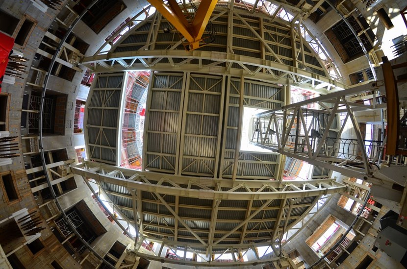 View from below: the steel structure will protect workers on the the lower-level of the machine ''well'' and will also be used as a storage platform. (Click to view larger version...)