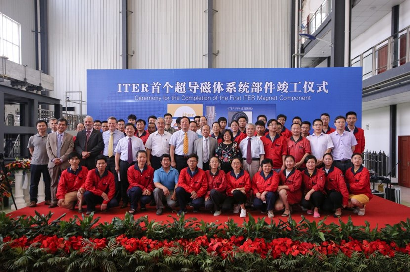 An industrial milestone to be celebrated: late July, representatives of the ITER Organization, the Chinese Domestic Agency, the European Domestic Agency, ASIPP and suppliers gathered the mark the shipment of the first completed magnet component to ITER. (Click to view larger version...)