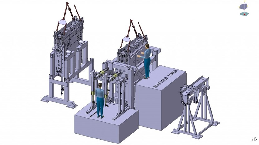 Equipment is already on order for the first task: verifying the maintainability of ITER diagnostic port plugs. The generic equatorial port plug (GEPP) test stand will allow operators to simulate basic vertical insertion operations (pictured) as well as more complex cooling pipe and fastening operations. (Click to view larger version...)