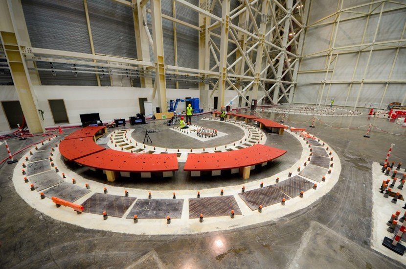 The rail base plates before installation. Designed by ITER's Tokamak Assembly Section/Division, the plates were manufactured in France, by CNIM (Toulon). (Click to view larger version...)