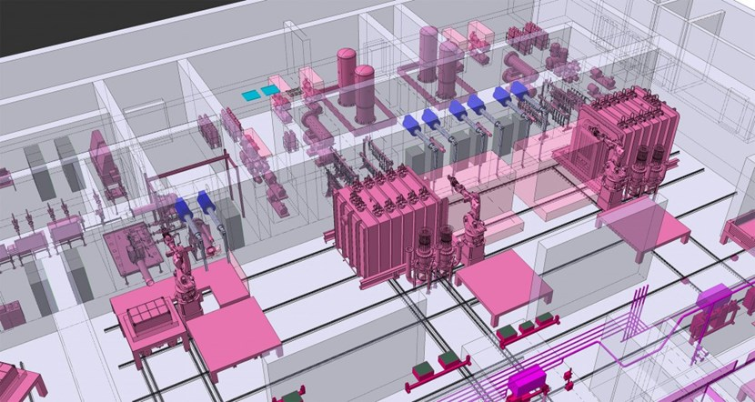 Tritium recovery and the characterization of the type B radwaste is carried out in this part of the Hot Cell. Two detritiation furnaces (large blocks, in pink) are set up near a packaging and sampling station, a laboratory, and a gas treatment system (moving clockwise from the furnaces). (Click to view larger version...)