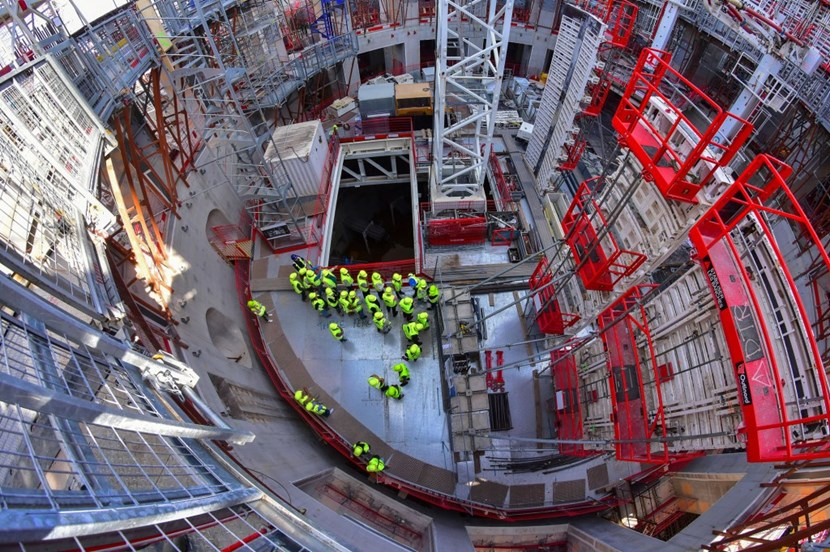 Standing on the recently installed ''lid'' inside the bioshield — a unique opportunity for the participants in the 11th ''Open Doors Day'' at ITER. (Click to view larger version...)