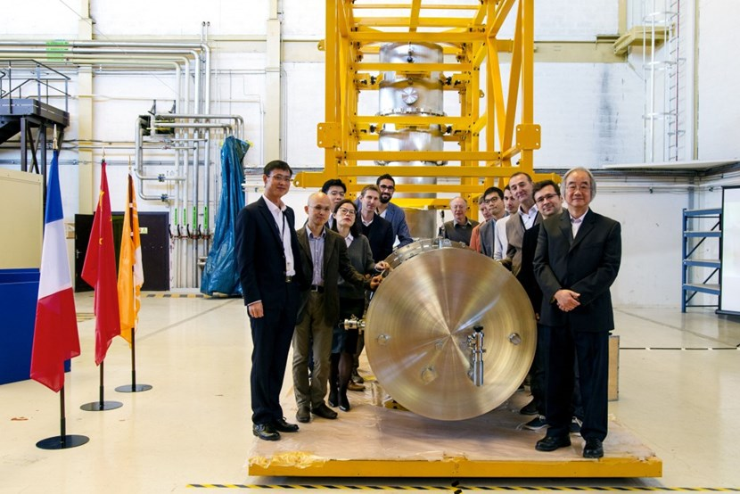 The ITER feeder and instrumentation team members responsible for the design and manufacturing of the cryogenic feedthrough for poloidal field coil #4. (Click to view larger version...)