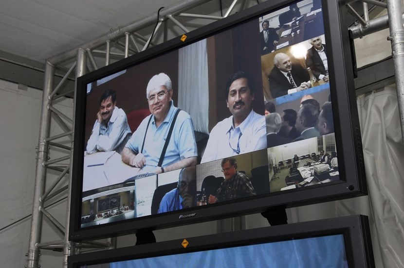 The representatives of the ITER Members participated in the celebration through video link. Clockwise: India, Korea, Russia, the ITER Organization in Saint-Paul-lez-Durance, Japan, the USA, Europe and China. (Click to view larger version...)