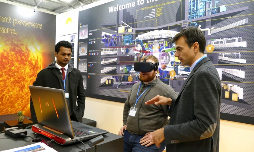 In Bonn, Germany, fusion is present through the ITER stand, where there is a lot of interest in the quest for a cleaner form of energy ... and in the Oculus Rift virtual tour of the construction site in southern France. (Click to view larger version...)