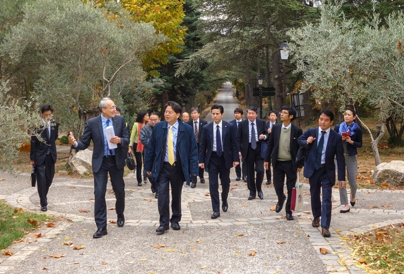 The status of Japan's contributions formed a focal point for interactions between the Minister and the ITER Director-General, seen here walking in the park of the neighbouring Château de Cadarache. (Click to view larger version...)