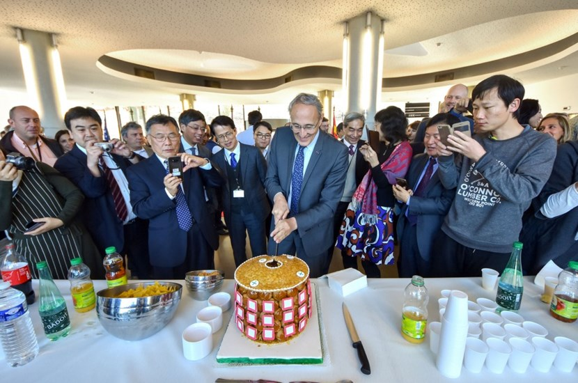 On 15 November, the ITER Community past and present gathered to celebrate the tenth anniversary of the effective establishment of the ITER Organization. A tokamak-shaped cake had been ordered, complete with a sugar-and-almond cryostat lid, cream-filled pastry-puff walls and sugar paste port openings ... (Click to view larger version...)