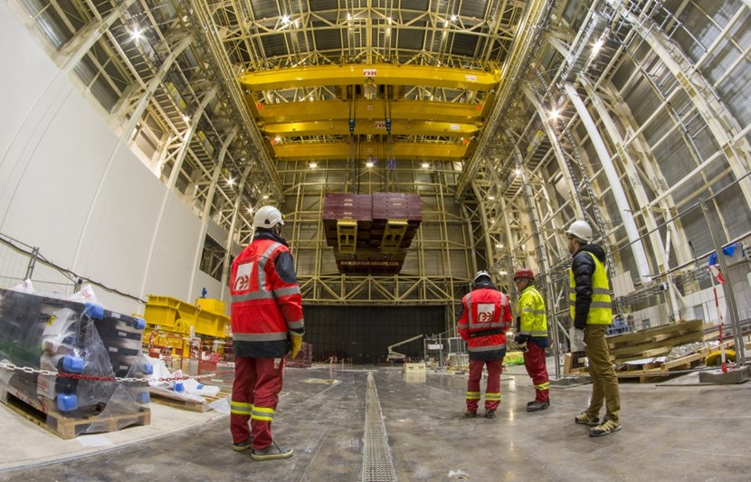 Load tests are performed at night, when no activity is ongoing in the Assembly Hall. Participants include specialists from the crane manufacturer Reel, the ITER Organization, the architect-engineer Engage and the safety controller Bureau Veritas. (Click to view larger version...)