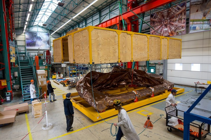 So far 18 toroidal field coils have been successfully cold tested in a dedicated CEA facility at Saclay, close to Paris. A coil is seen here as it is being packed for the trip to Japan. The last two coils of the 18 needed for the tokamak—Isabelle and Jeanne—will be flown to Japan by a giant Antonov cargo plane. © P. Dumas/CEA (Click to view larger version...)