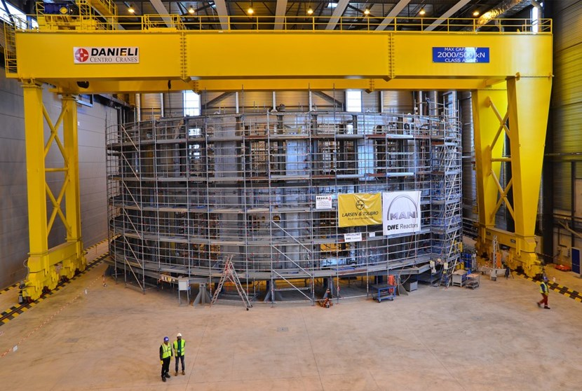 Nothing gives a better sense of the size of the ITER machine than the ongoing works in the Cryostat Workshop, where the the lower cylinder and base section of the cryostat are being assembled and welded under the responsibility of Indian contractor Larsen & Toubro. (Click to view larger version...)