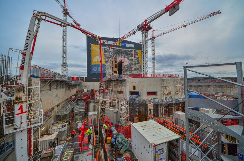 As formwork was removed from the bioshield proper, new moulds and scaffolding were being erected on the north side of the structure. They are for the reinforced wall that will support the 10-metre-high ''vault'' that will accommodate equipment for the Tokamak's cooling water system (TCWS). (Click to view larger version...)