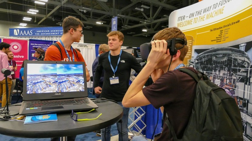 There was a never-ending stream of visitors at the ITER stand, including many young students like these three from the UK. (Click to view larger version...)