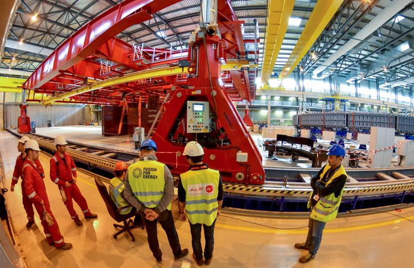 Personnel from the European Domestic Agency and from crane manufacturer Ale Heavy Lift are overseeing the load tests. Europe is responsible for procuring 5 out of the 6 poloidal field coils required for ITER operation. (Click to view larger version...)