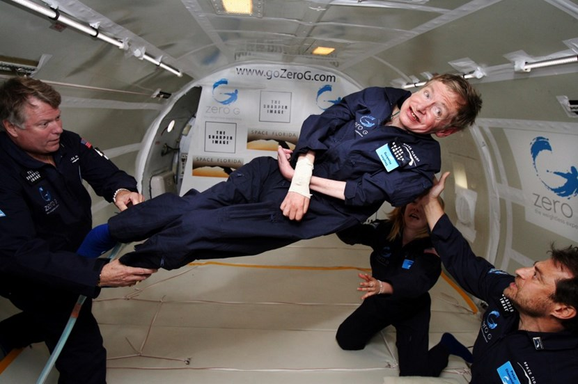 Weightless—in 2007, Stephen Hawking experienced ''zero gravity'' during a parabolic flight aboard a NASA Boeing 727, feeling ''like Superman for a few minutes.'' (Click to view larger version...)