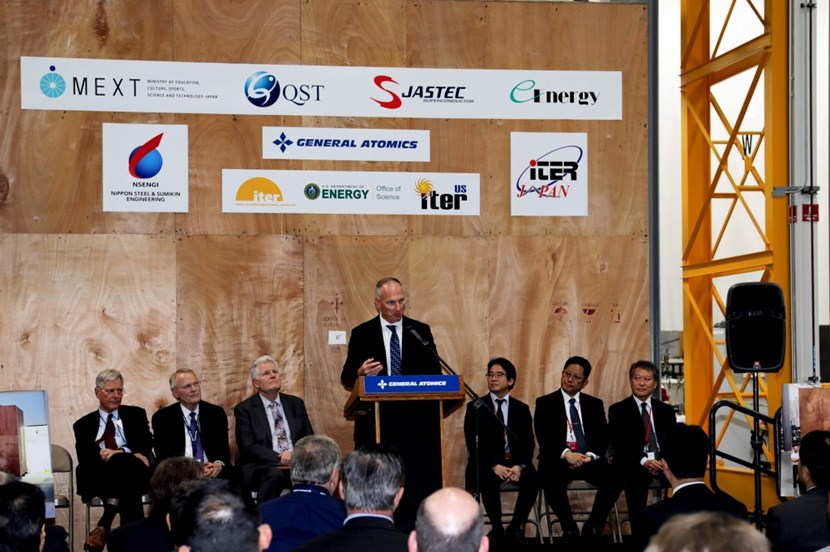 John Smith, manager for General Atomics of the ITER central solenoid project, speaks at an event marking the delivery of the final spool of conductor to the central solenoid facility near San Diego. Photo: GA (Click to view larger version...)