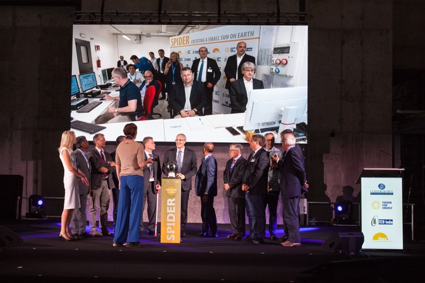 ITER Director-General Bernard Bigot did the honours of switching on the world's largest negative ion source, while the audience could track the event on the screen. In the coming months, the team will begin extracting negative ions. (Click to view larger version...)