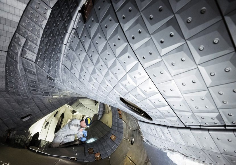 The new graphite tile cladding at Wendelstein 7-X permits higher termperatures and longer plasma discharges. (Click to view larger version...)