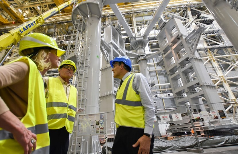 Accompanied by US Ambassador to France Jamie McCourt (left), Secretary Perry spent considerable time meeting with the ITER management and went on an extensive walking tour of the worksite. (Click to view larger version...)