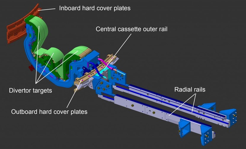 Divertor cassettes will be inserted by robotic handler into the vacuum vessel through the lower ports. Once inside the chamber, they will be moved along concentric toroidal rails into their final position. (Click to view larger version...)
