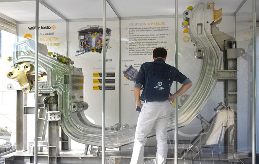 The divertor cassette body displayed at the 30th SOFT conference is a full-size prototype that—qualified as a spare part—could one day end up in the ITER machine as a replacement to one of the first-generation components. (Click to view larger version...)