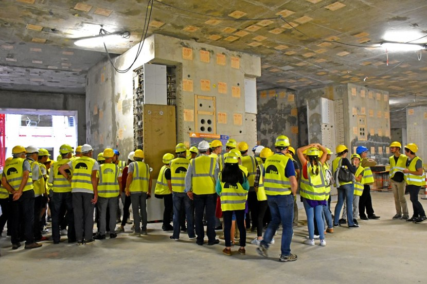 The highlight of the tour was the visit of the Tokamak Building and a peek down into the 30-metre-wide pit where the fusion plasma will be ignited one day. (Click to view larger version...)