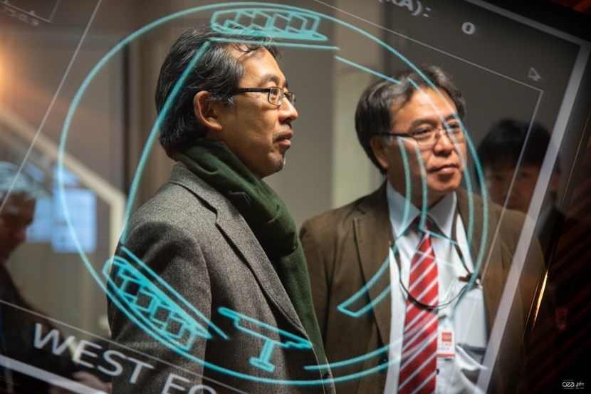 From the WEST control room in France, observers watch live as Japanese scientists test the data acquisition and control techniques of the Remote Experimentation Centre in Rokkasho (Japan). Photo: Christophe Roux/CEA (Click to view larger version...)
