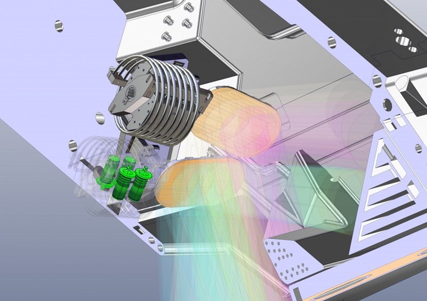 This is a simulated view from the plasma centre looking up into the upper launcher along the microwave beam path. The outer launcher structure is removed so that the steering mirrors—in orange—are visible. The mechanism of the top steering mirror is intact; the mechanism of the lower mirror is ''dematerialized'' so that the four bellows—in green—can be seen. (Click to view larger version...)