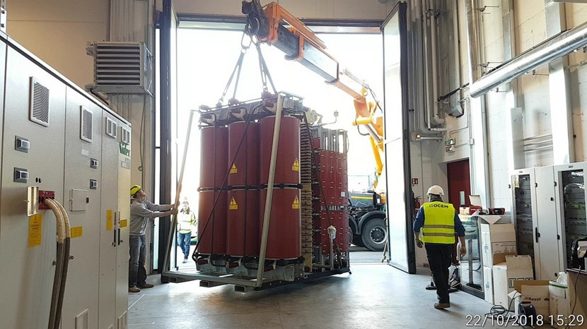 The power supply for the residual ion dump has been delivered to the MITICA test bed at Consorzio RFX in Padua, Italy. On the left, the conversion system for the test bed's acceleration grid power supplies is also visible. (Click to view larger version...)