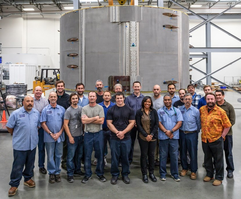 The module fabrication team at the General Atomics Magnet Technology Center in Poway, California. Six stacked modules will form the 1,000-tonne central solenoid magnet. Photo: GA (Click to view larger version...)