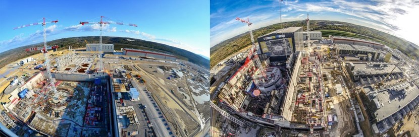 Nearly four years of progress on the ITER worksite (February 2015, November 2018). (Click to view larger version...)