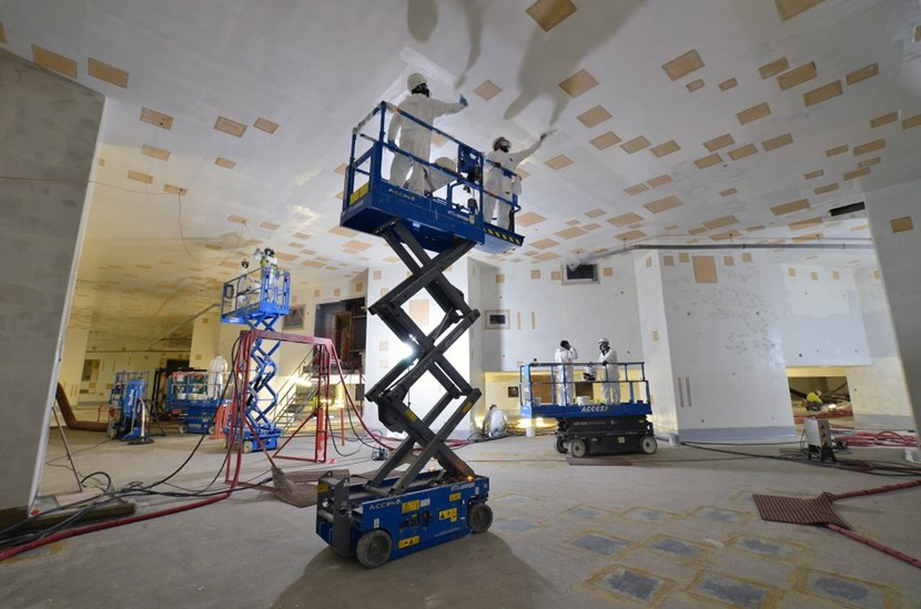 150 tonnes of resin, primer and paint to transform the raw concrete surfaces of the Tokamak Complex into a pristine jewel box. (Click to view larger version...)