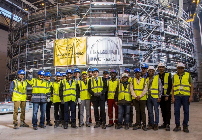 Guests from the Indian Domestic Agency and from contractor Larsen & Toubro joined the ITER Director-General, ITER Organization staff, and on-site welding specialists from MAN Energy Solutions to celebrate the completion of the component (Click to view larger version...)