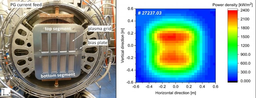 A beam of roughly 1 m x 1 m is extracted out of 640 apertures of the ELISE grid system (left). Three and a half metres later, it hits the diagnostic calorimeter which measures the 2D profile of the beam power (right). (Click to view larger version...)