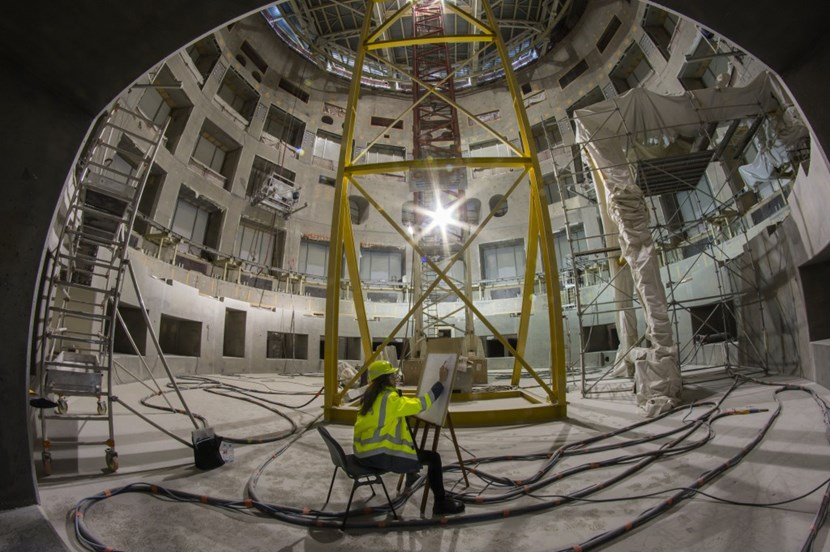 Michela Meneguzzi, a 28 year old artist from Italy, spent five hours in the Tokamak Pit on Sunday—on the very spot where the ITER machine will be installed beginning next year. (Click to view larger version...)