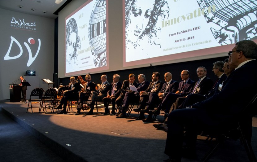 The panel, moderated by ITER's Sergio Orlandi (Head of the Plant Engineering Department, seated sixth from left), was composed of leaders of Italian university programs and research institutions, and heads of industry. (Click to view larger version...)