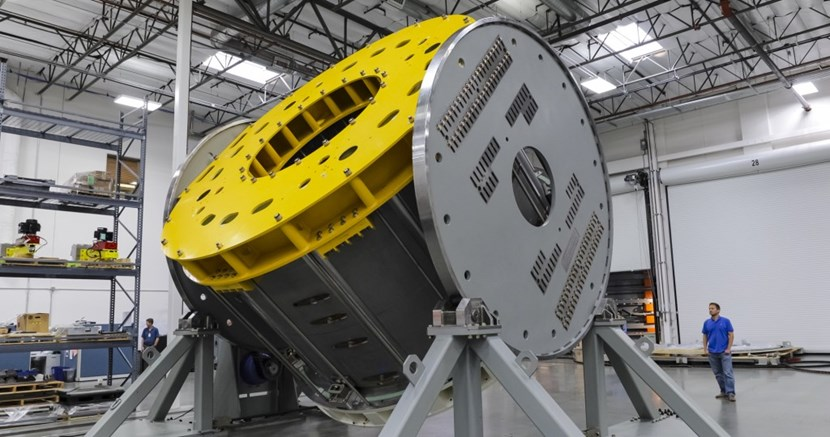 Before a 110-tonne module can be completed, it must be turned over by a specialized handling tool. US ITER contractor General Atomics is fabricating seven modules for the central solenoid (six plus one spare). Photo: GA (Click to view larger version...)