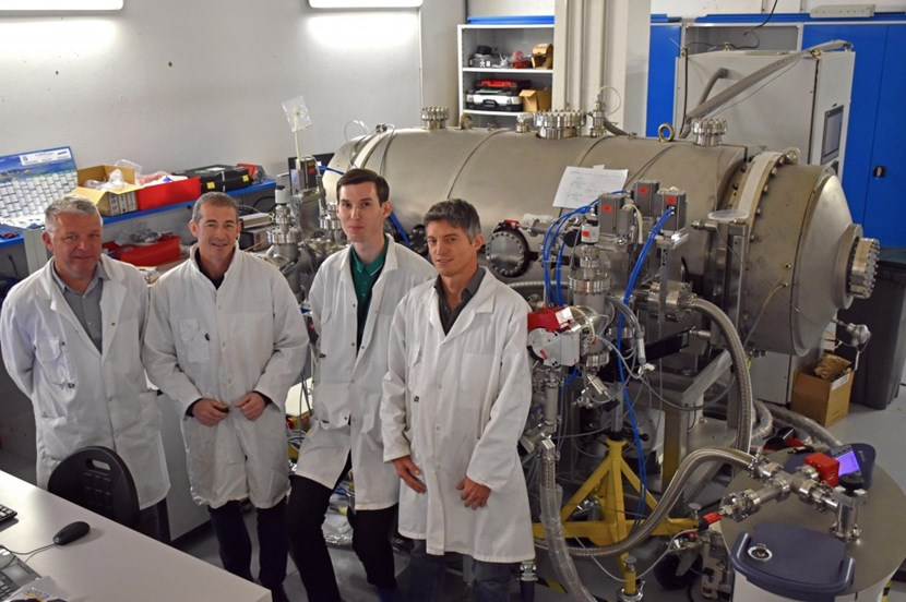 Liam Worth, Gilles Wolfers, Sergei Nasluzov and Christopher Jarrige (from left to right) are using a one-cubic-metre vacuum chamber to ensure that the leak-detection tool—a mass spectrometer—is capable of the level of sensitivity needed for the vacuum vessel sector factory acceptance leak test. (Click to view larger version...)