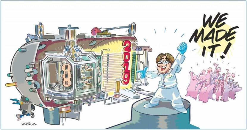 The achievement of the first hydrogen beam was celebrated by a commemorative strip by well-known cartoonist Stefano Intini. (Click to view larger version...)