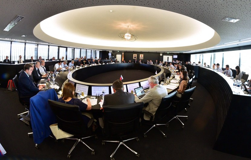 Representatives from every ITER Member convene in the Council Chamber on the fifth floor of ITER Headquarters for an intensive two-day program. (Click to view larger version...)