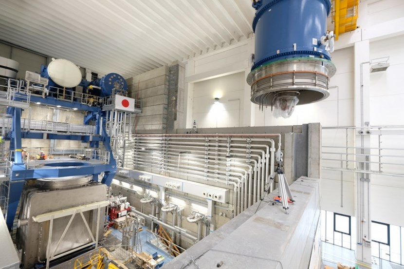At the ITER Neutral Beam Test Facility in Padua, Italy, a 50-tonne high voltage bushing has been installed on the MITICA vacuum vessel. The bushing acts like a feedthrough between the transmission line and the injector. (Click to view larger version...)
