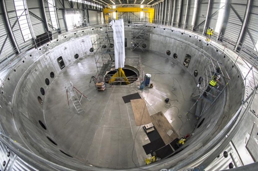 Resembling a soup dish, or an upside down hat, the cryostat base is the heaviest single component of the ITER machine. It is also the first major lift of the ITER assembly phase. By March 2020, the completion of the Tokamak Building roof and the extension of the assembly crane rails will permit this component to be installed in the Tokamak Pit. (Click to view larger version...)