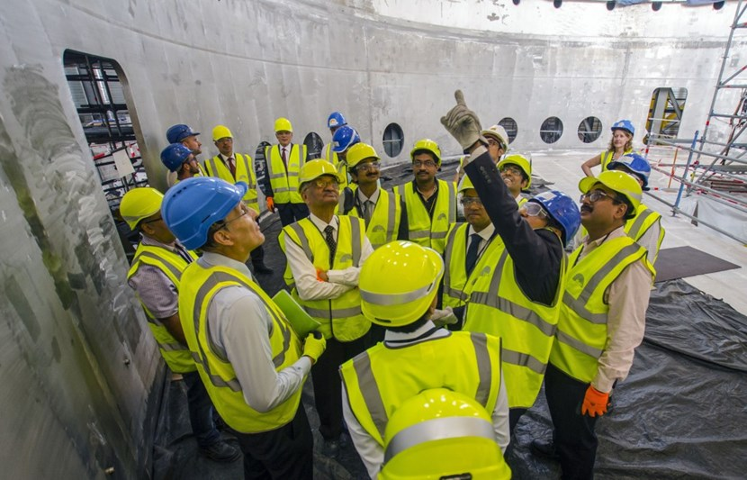 ITER Cryostat Group Leader Anil Bhardwaj gives a tour of the recently finalized base section. The 1,250-tonne cryostat base will be the first machine component to be lowered into the assembly pit in March 2020. (Click to view larger version...)