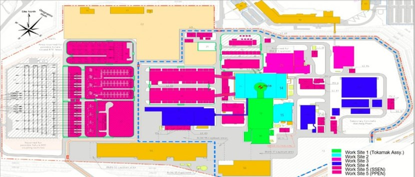 In green, the zone covered by the TAC (Tokamak Assembly) contracts, including the Tokamak Pit, the Assembly Hall and the Cleaning Facility. In blue, the TCC (Tokamak Complex) zone plus Radio Frequency Building. In red, pink and purple, the areas covered by the ''Balance of Plant'' contracts. (Click to view larger version...)