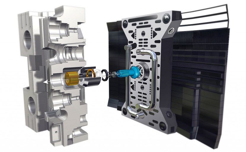 From the first-of-a-kind ITER blanket will come a wealth of important information for the design of DEMO, the next-stage fusion device. (Pictured, details of the bolted connection between the shield block (left) and the first wall panel.) (Click to view larger version...)