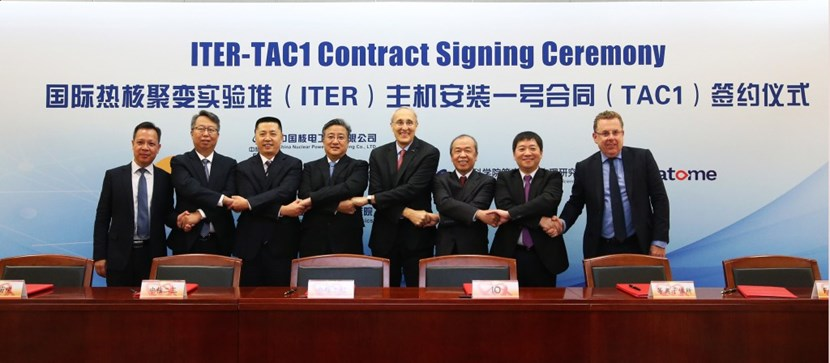 The TAC1 contract was signed in Beijing, China, on 30 September. Representatives of the CNPE consortium (formed by China Nuclear Power Engineering; China Nuclear Industry 23 Construction Company Ltd.; Southwestern Institute of Physics; Institute of Plasma Physics, Chinese Academy of Sciences ASIPP; and Framatome) are pictured next to ITER Director-General Bernard Bigot. (Click to view larger version...)