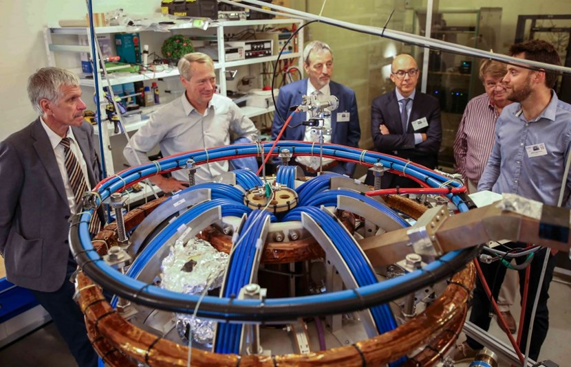 On 23 August 2019—inauguration day—Tokamak Energy Chief Scientist Mikhail Gryaznevich, Dean Henrik Bindslev (University of Southern Denmark), EUROfusion Programme Manager Tony Donné, F4E Deputy Chief Financial Officer Leonardo Biagioni, and former JET scientist Per Nielsen listen to the explanations of Stefan Kragh Nielsen, Senior Scientist at DTU. (Photo credit: Henrik Moltke/Altinget.dk) (Click to view larger version...)